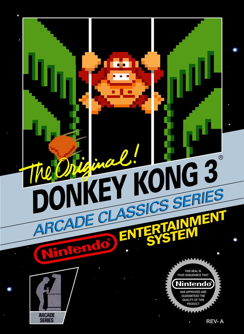Donkey Kong 3 (1984) NES box cover art - MobyGames