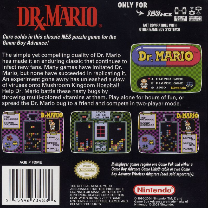 Dr. Mario Game Boy Advance Back Cover