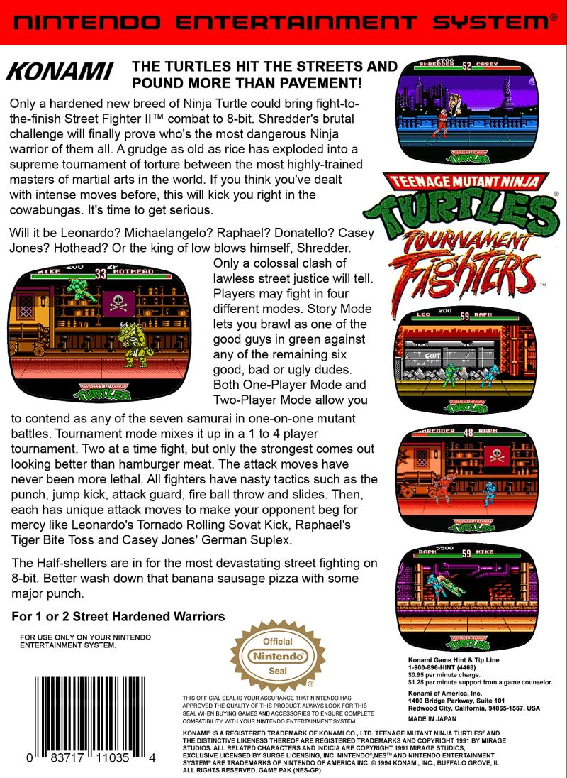Teenage Mutant Ninja Turtles: Tournament Fighters NES Back Cover