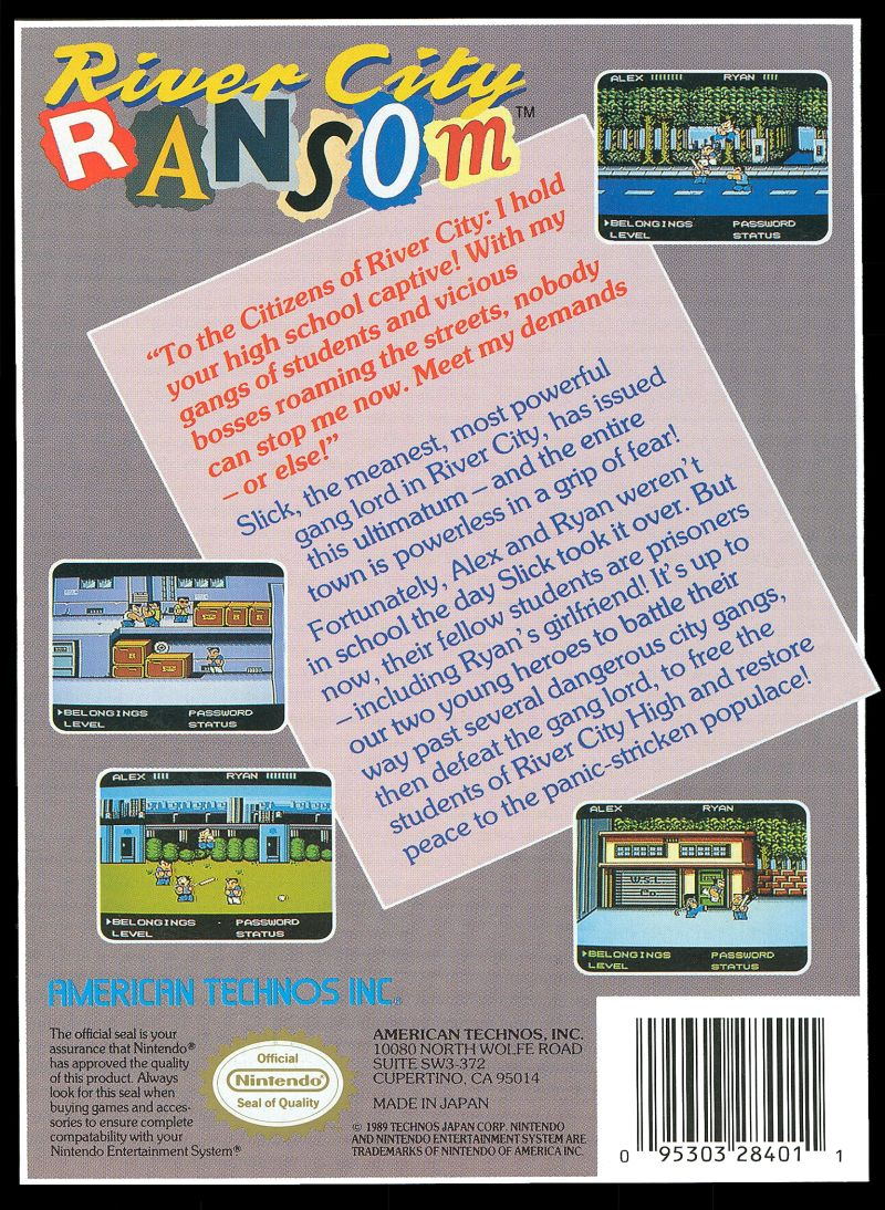 River City Ransom NES Back Cover