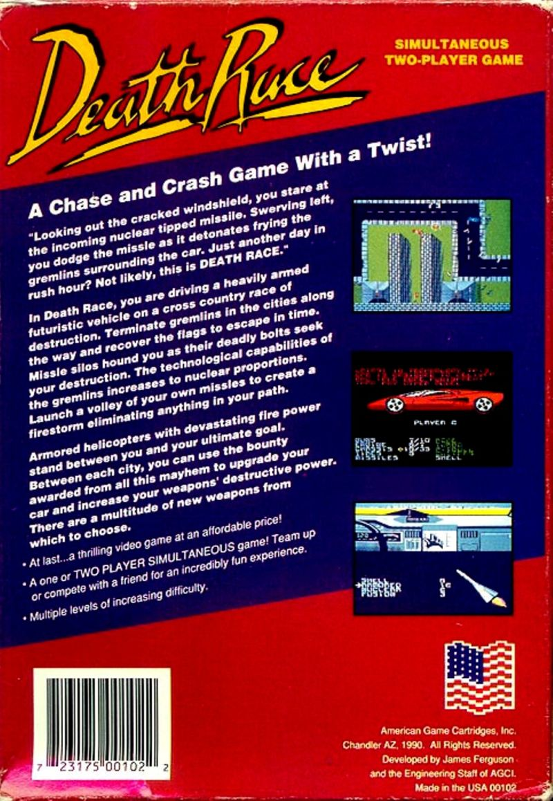 Death Race NES Back Cover