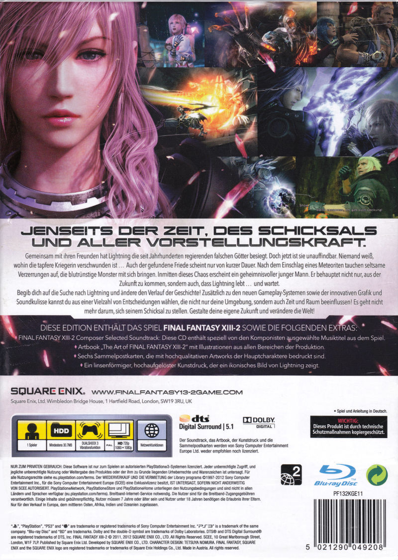 Final Fantasy XIII-2 (Limited Collector's Edition) PlayStation 3 Back Cover
