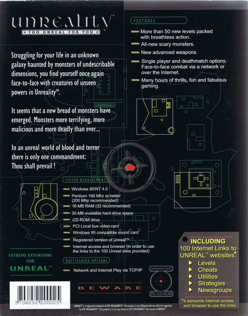 Unreality: Too Unreal for You Windows Back Cover