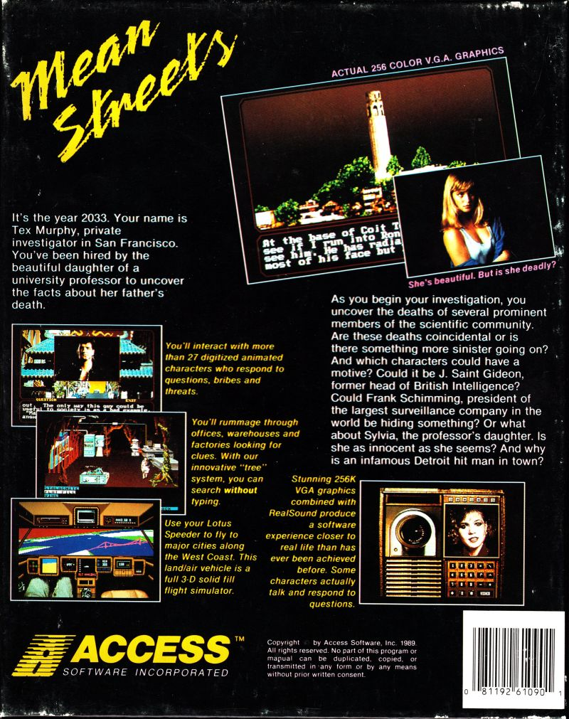 Mean Streets DOS Back Cover