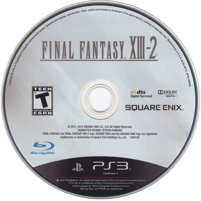 Final Fantasy XIII-2 (Collector's Edition) PlayStation 3 Media Game disc