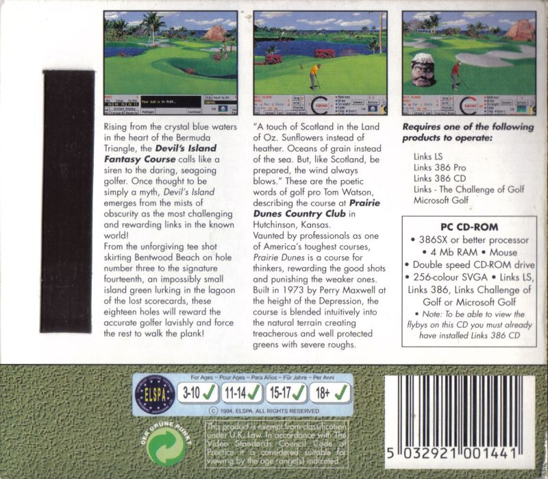 Links Championship Courses II DOS Back Cover The black stripe is a magnetic strip