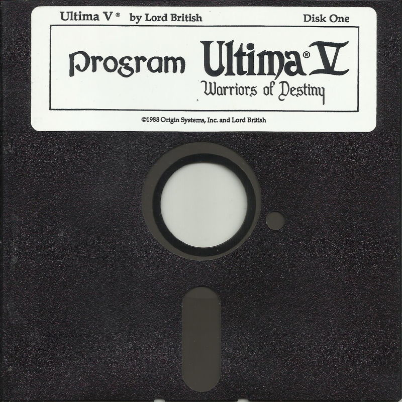 "Ultima V: Warriors of Destiny DOS Media 5.25"" disk 1/4: Player disk"