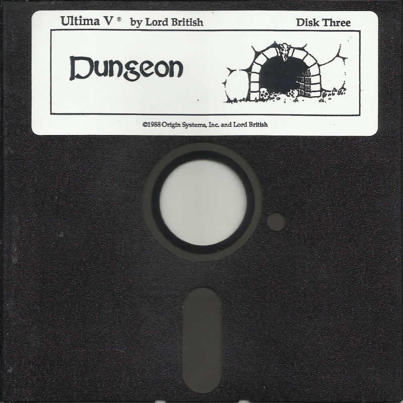 "Ultima V: Warriors of Destiny DOS Media 5.25"" disk 3/4: Dungeon disk"