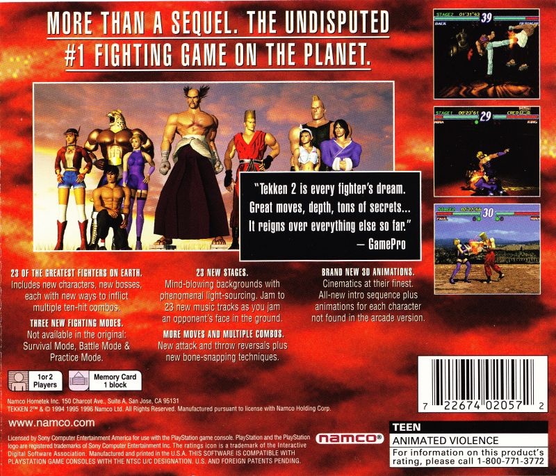 Tekken 2 PlayStation Back Cover Greatest Hits