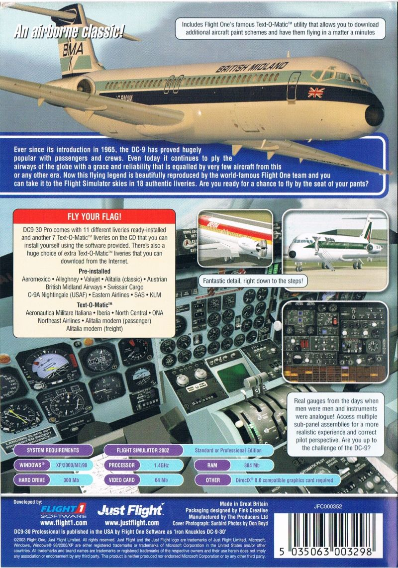 DC9-30 Professional Windows Back Cover