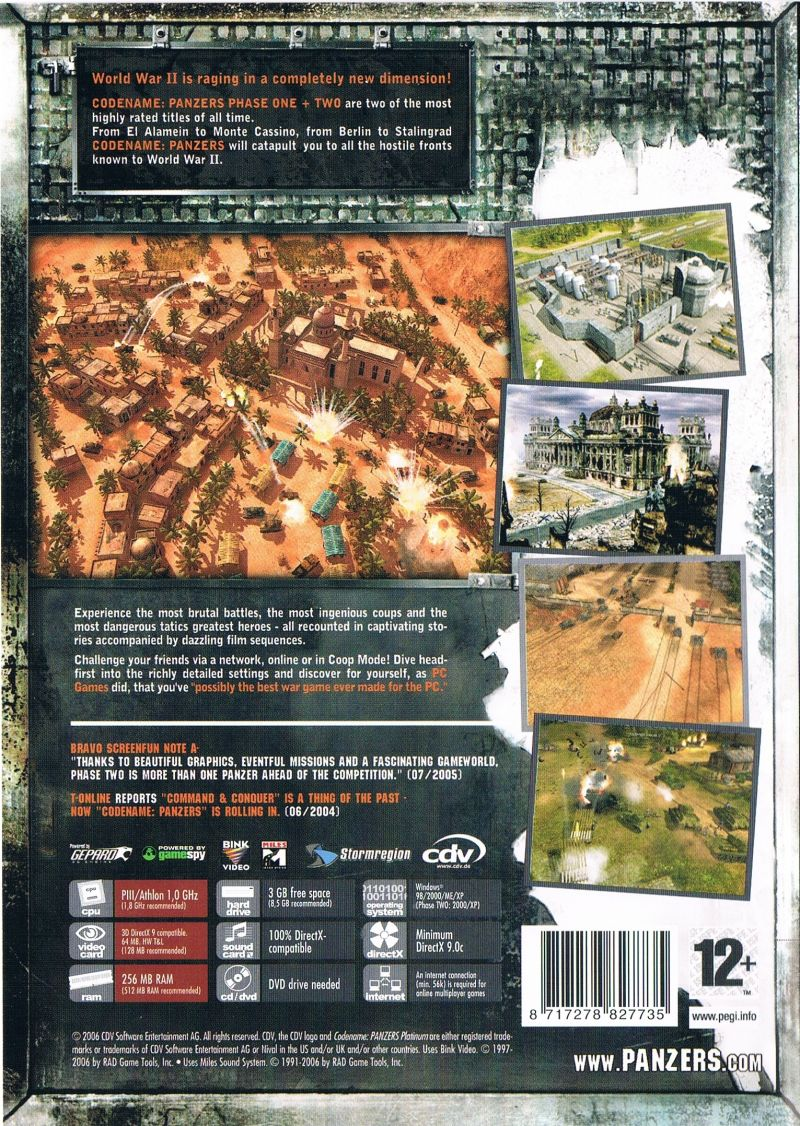 Codename: Panzers - Platinum: Phase One + Phase Two Windows Back Cover