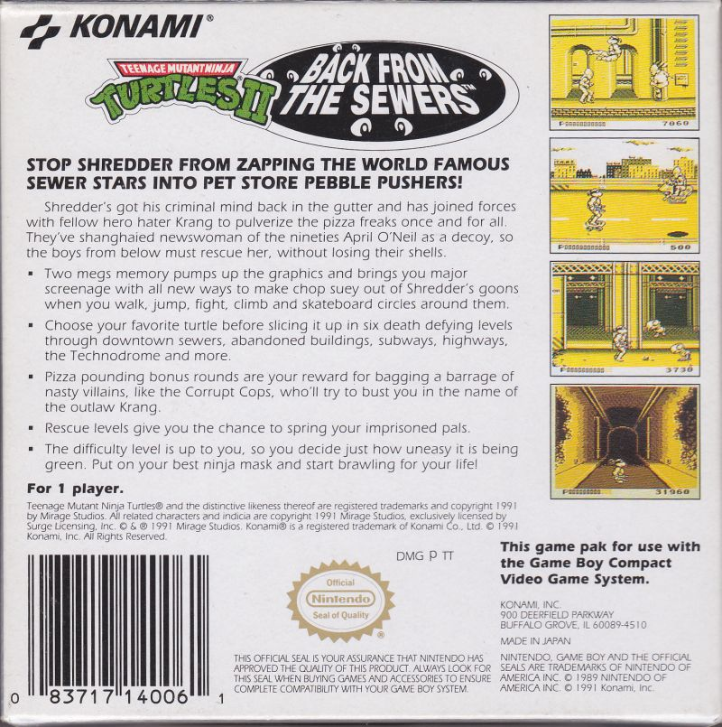 Teenage Mutant Ninja Turtles II:  Back from the Sewers Game Boy Back Cover