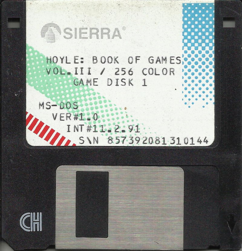 """Hoyle Official Book of Games: Volume 3 DOS Media 3.5"""" Game Disk 1 (256 color)"""