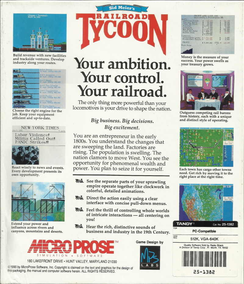 Sid Meier's Railroad Tycoon DOS Back Cover