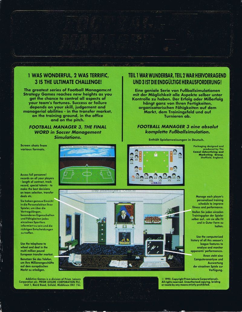 Football Manager 3 Commodore 64 Back Cover