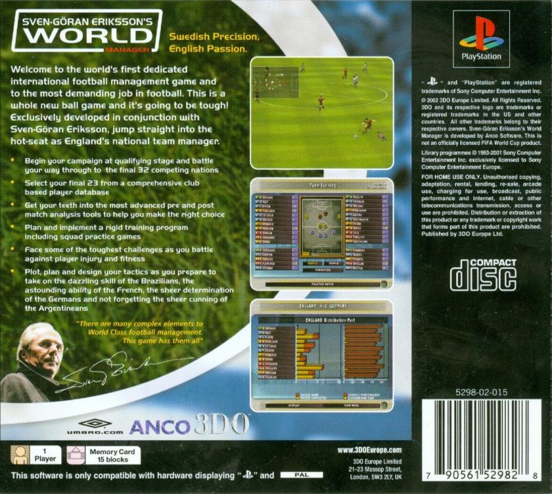 Sven-Göran Eriksson's World Manager PlayStation Back Cover