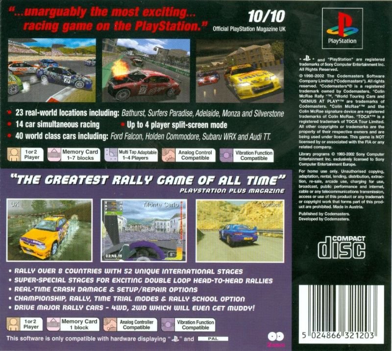 TOCA World Touring Cars / Colin McRae Rally PlayStation Back Cover