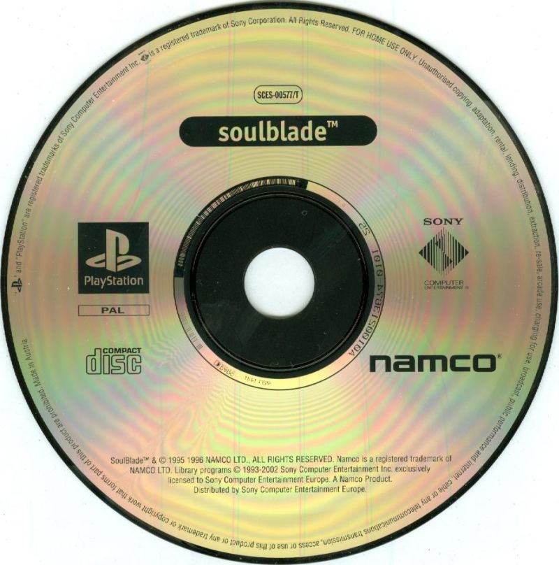 Tekken 2 / Soul Blade PlayStation Media <i>Soul Blade</i> disc