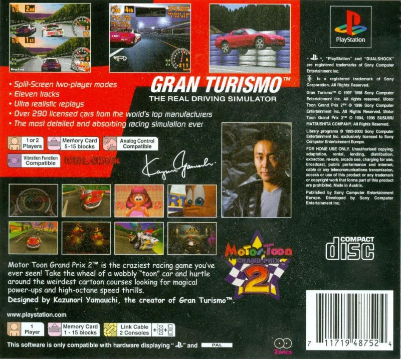 gran turismo motor toon grand prix 2 2003 playstation box cover art mobygames. Black Bedroom Furniture Sets. Home Design Ideas