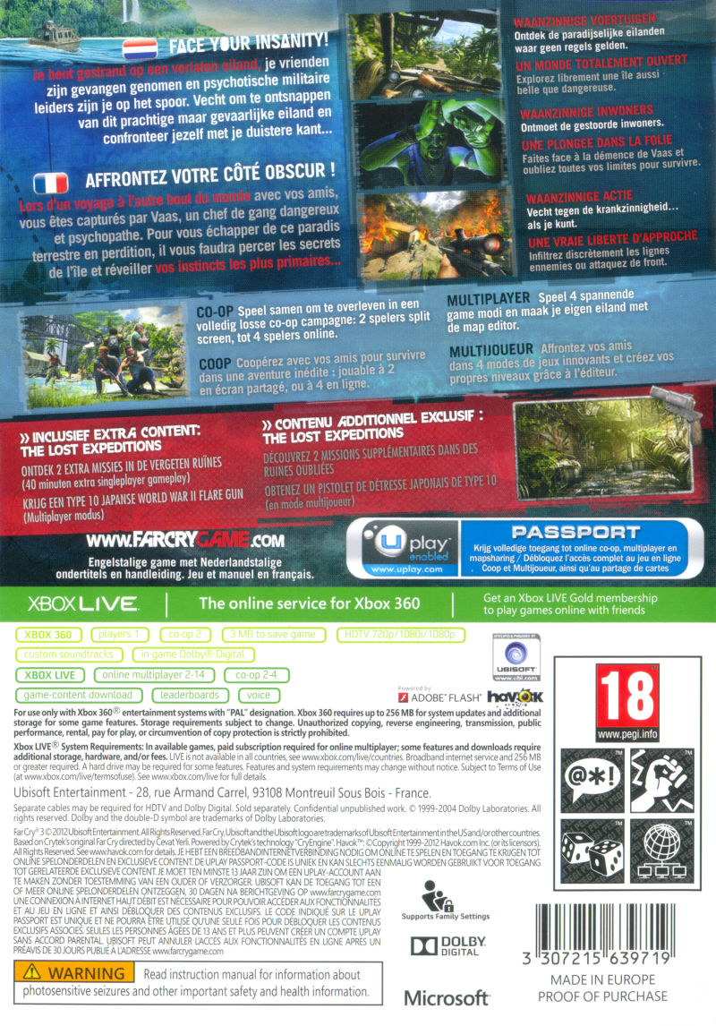 Far Cry 3 (The Lost Expeditions Edition) Xbox 360 Back Cover