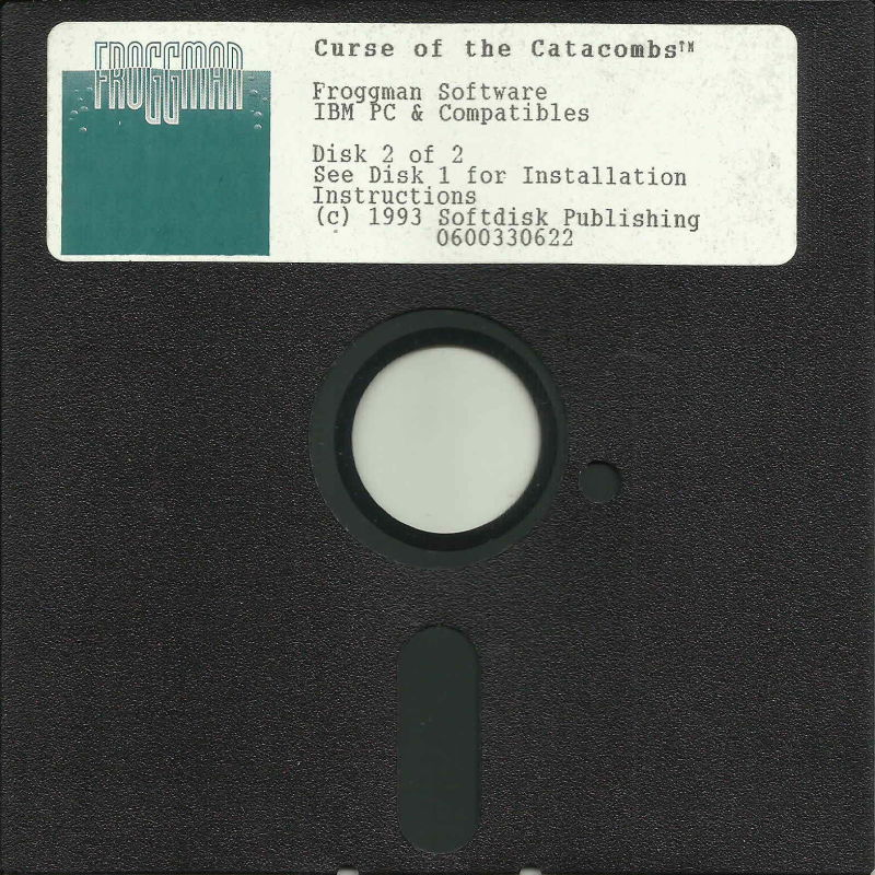 """Curse of the Catacombs DOS Media 5.25"""" Disk (2/2)"""