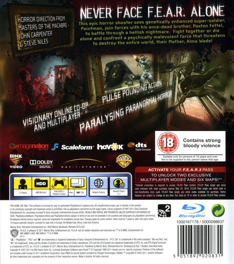 F.3.A.R. PlayStation 3 Back Cover