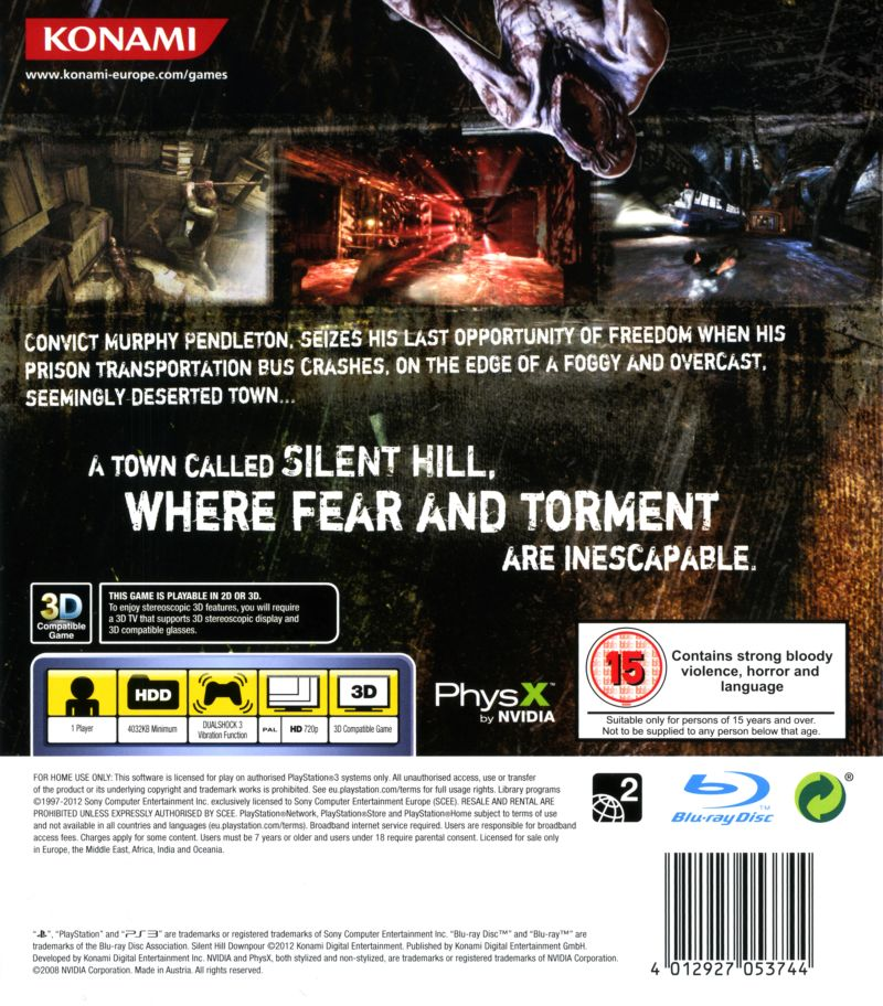 Silent Hill: Downpour PlayStation 3 Back Cover