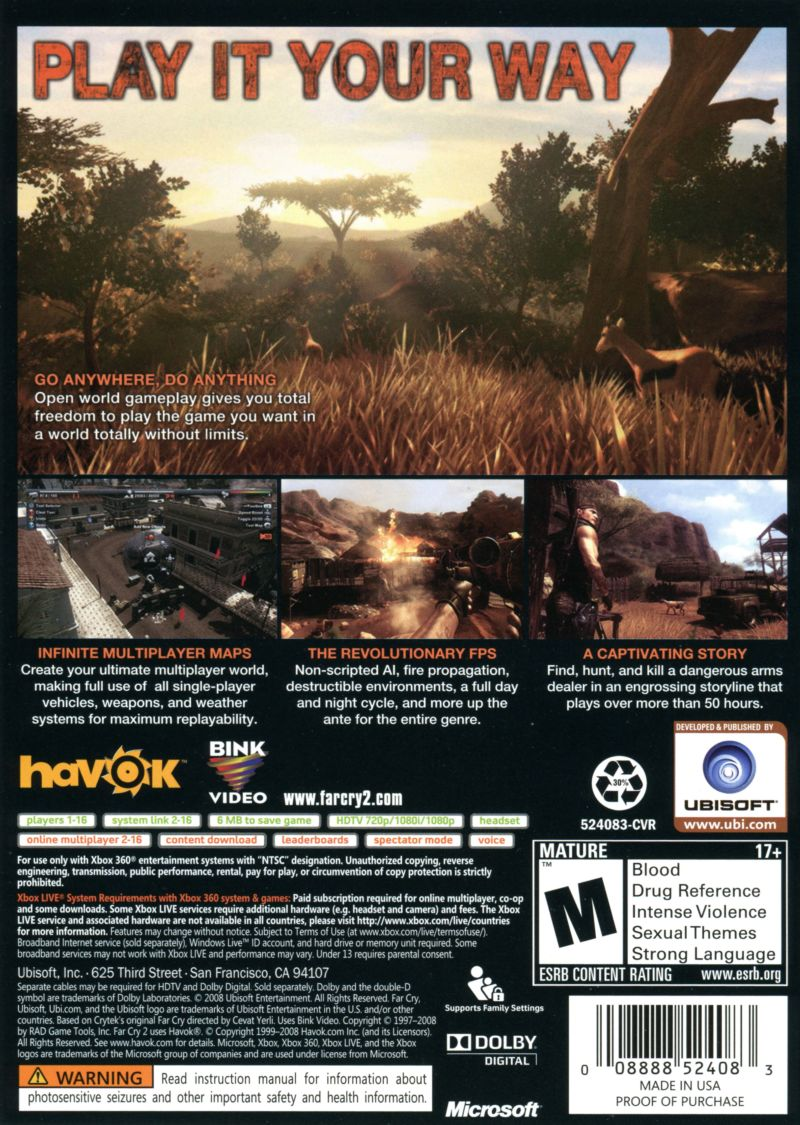 Far Cry 2 Xbox 360 Back Cover