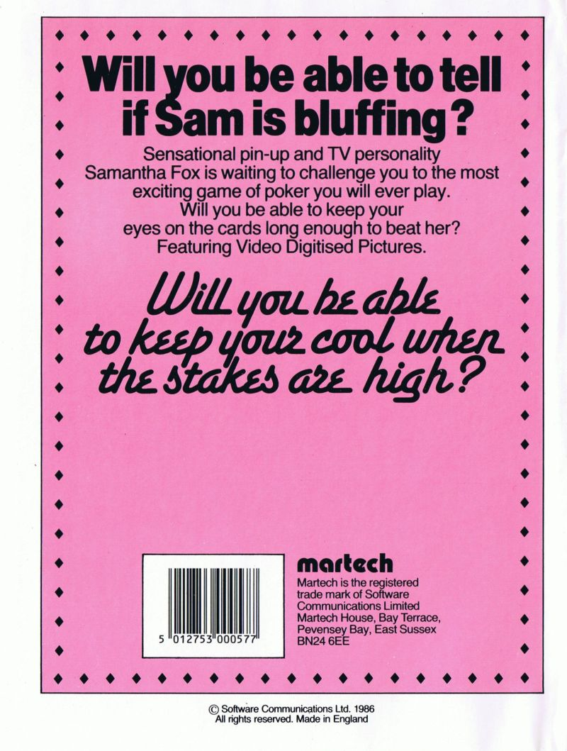 Samantha Fox Strip Poker BBC Micro Back Cover