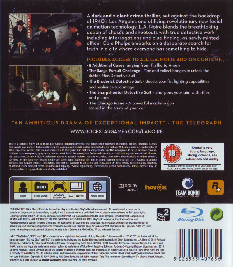 L.A. Noire: The Complete Edition PlayStation 3 Back Cover