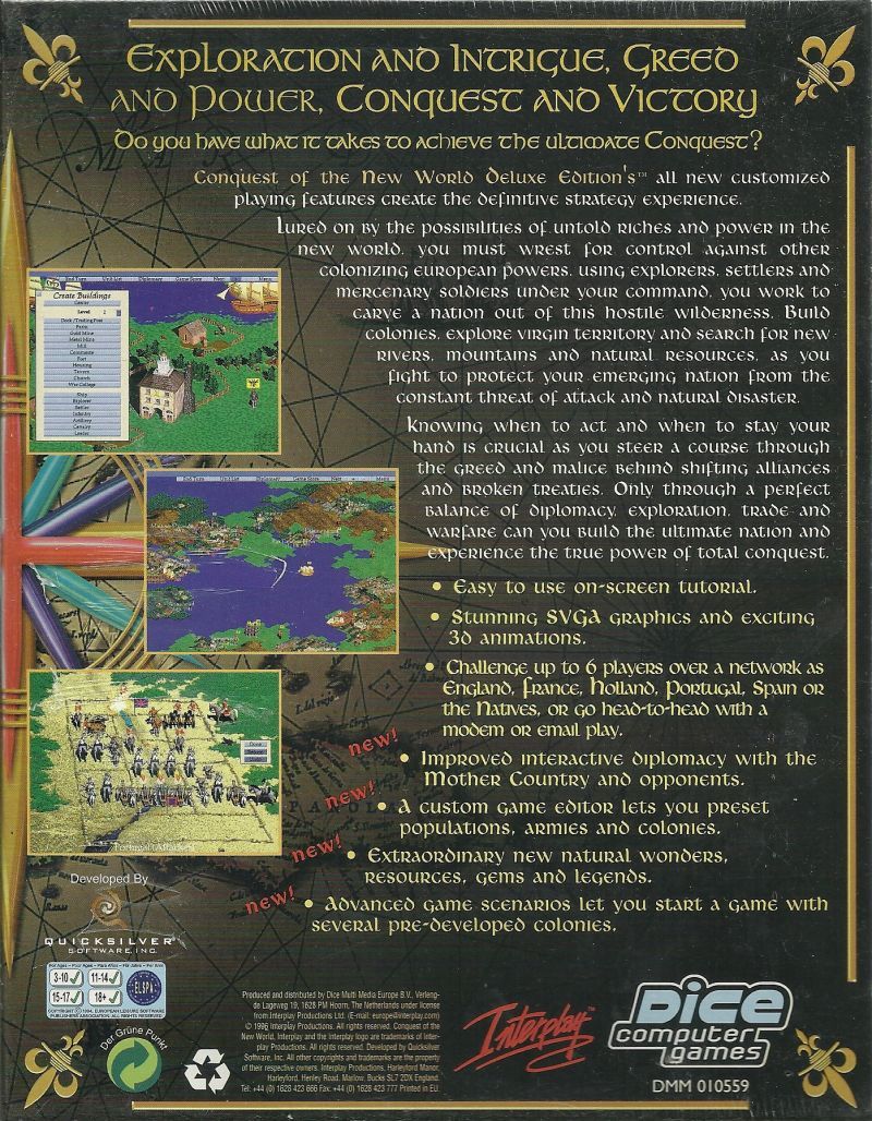 Conquest of the New World: Deluxe Edition DOS Back Cover