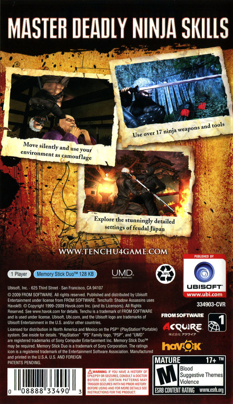 Tenchu: Shadow Assassins PSP Back Cover