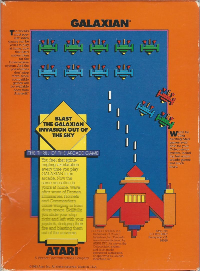 Galaxian ColecoVision Back Cover