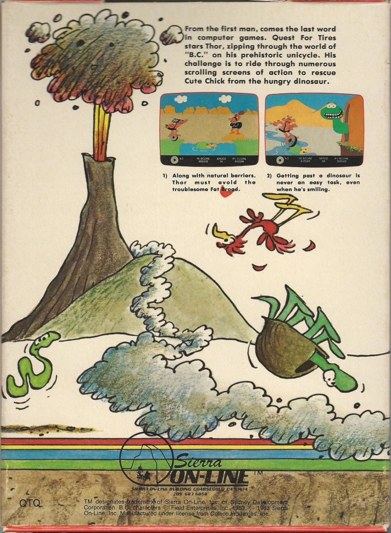 BC's Quest for Tires ColecoVision Back Cover