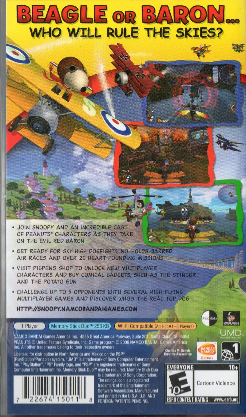 Snoopy vs. the Red Baron PSP Back Cover