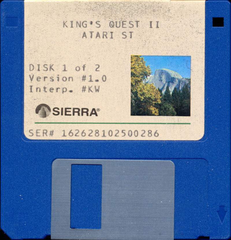 King's Quest II: Romancing the Throne Atari ST Media Disk 1 of 2