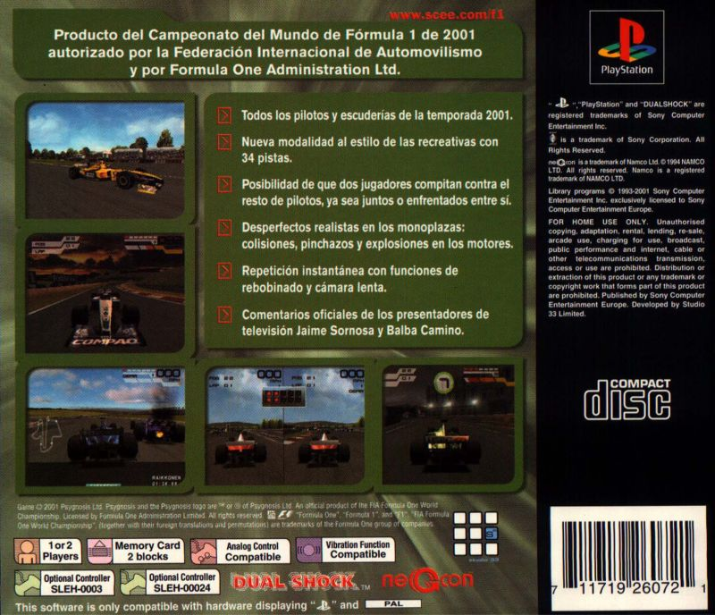 Formula One 2001 PlayStation Back Cover