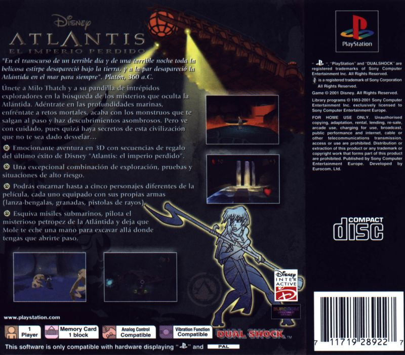 Disney's Atlantis: The Lost Empire PlayStation Back Cover
