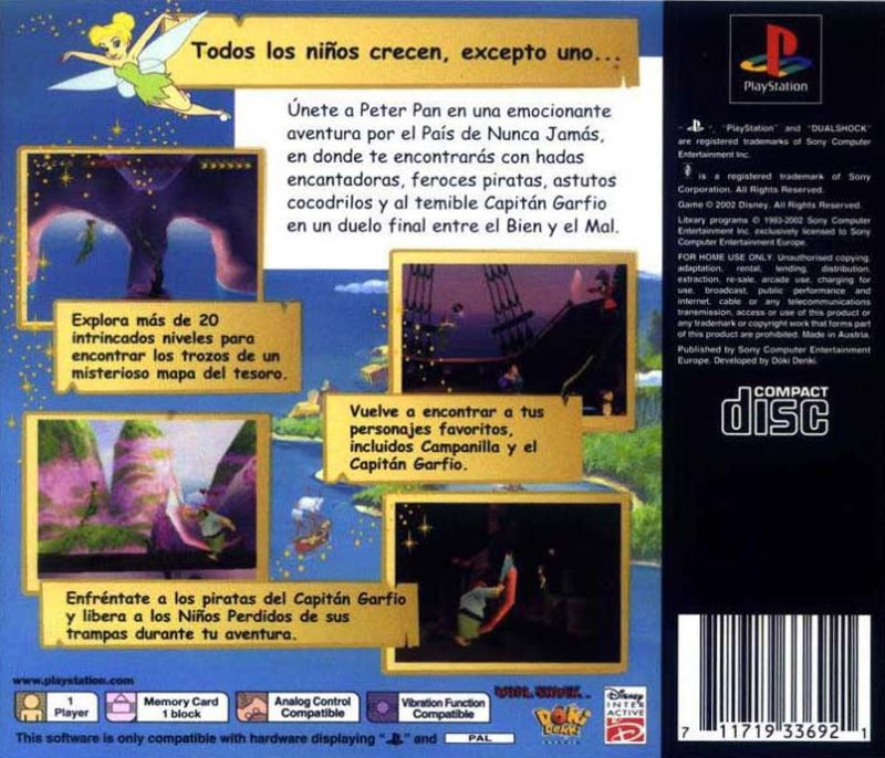 Peter Pan in Disney's Return to Never Land PlayStation Back Cover