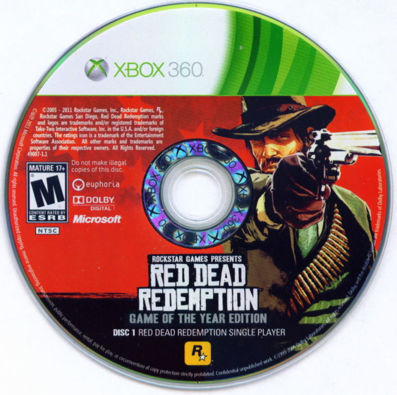 Red Dead Redemption: Game of the Year Edition Xbox 360 Media Disc 1 - Main Game