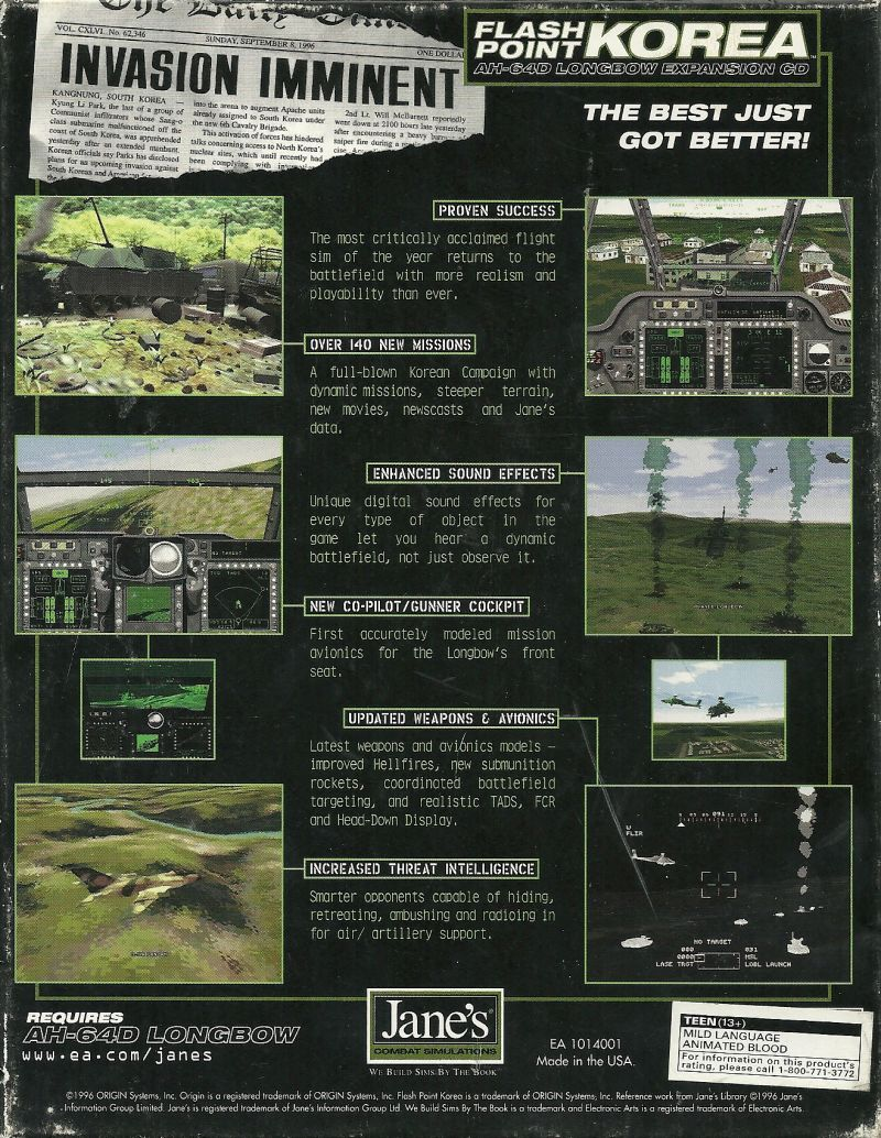 Jane's Combat Simulations: AH-64D Longbow: Flash Point Korea DOS Back Cover