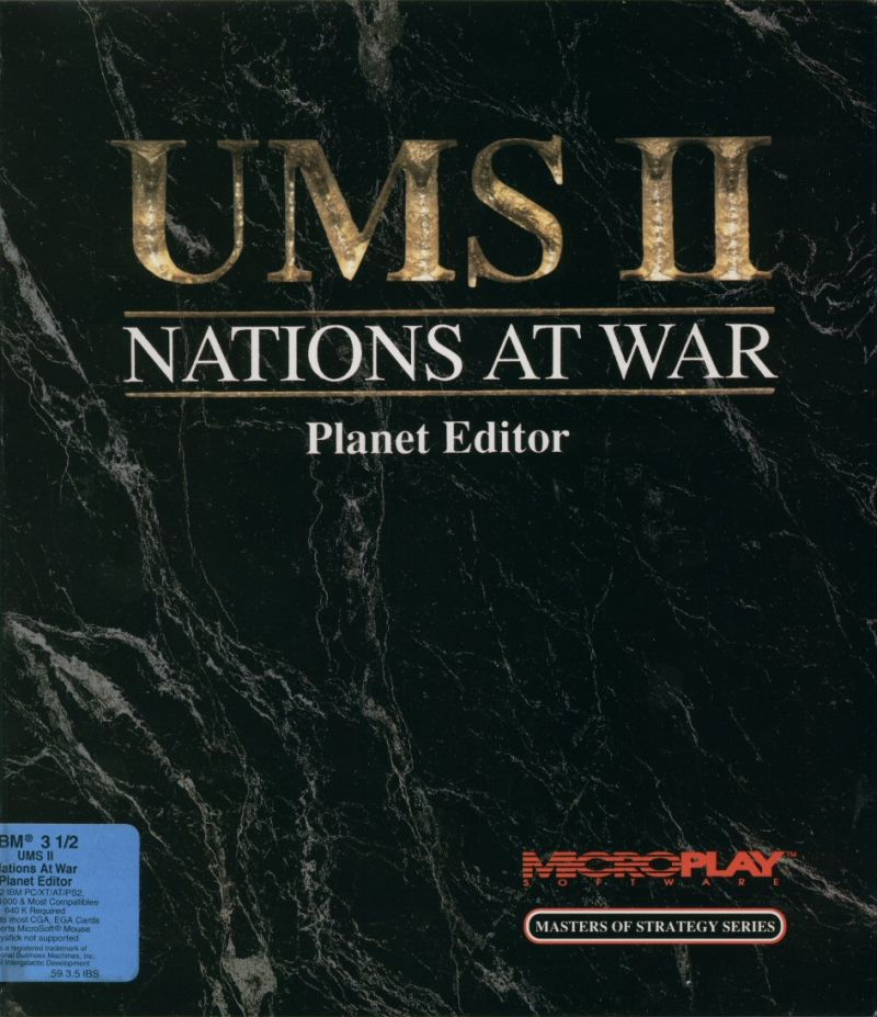 UMS II: Nations at War - Planet Editor DOS Front Cover