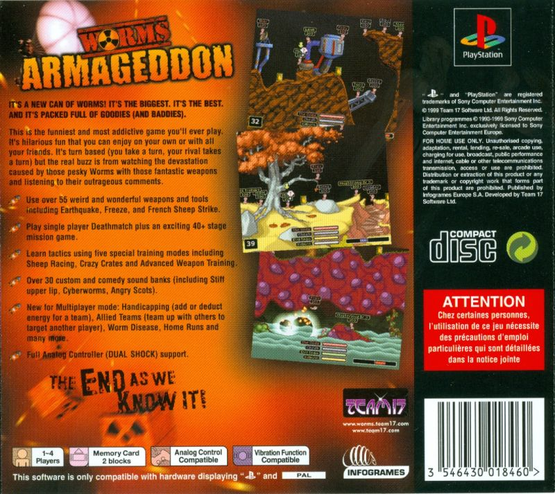 Worms Armageddon PlayStation Back Cover