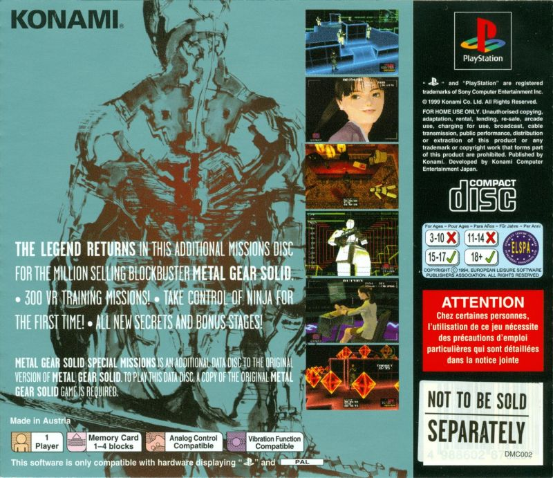Metal Gear Solid / Metal Gear Solid: Special Missions PlayStation