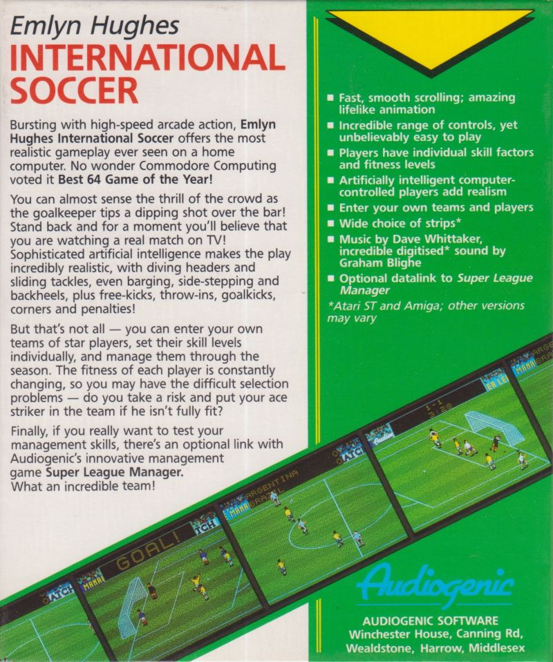 Emlyn Hughes International Soccer Amiga Back Cover