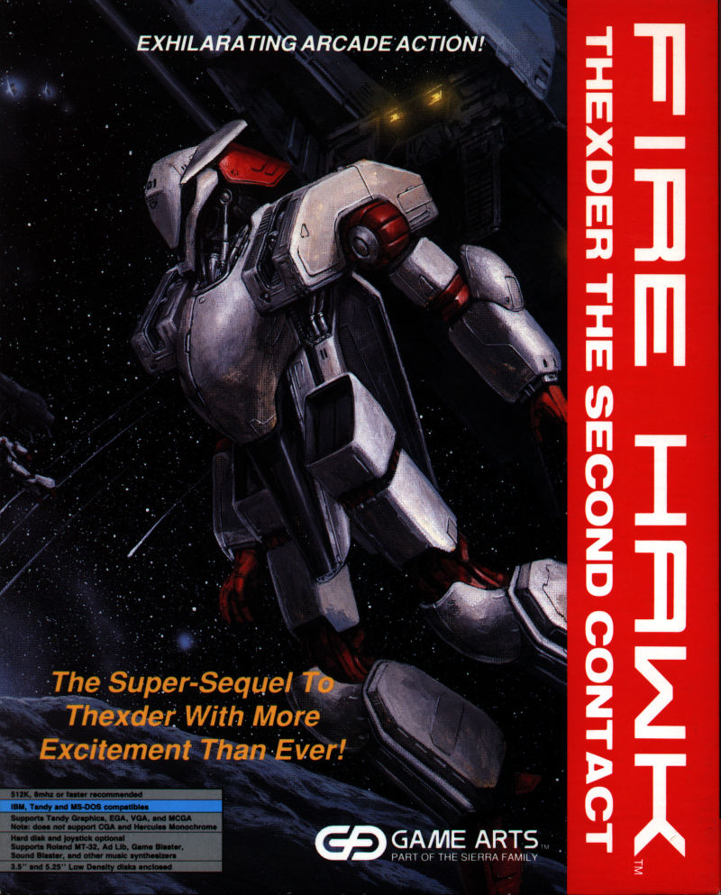 Fire Hawk: Thexder - The Second Contact DOS Front Cover