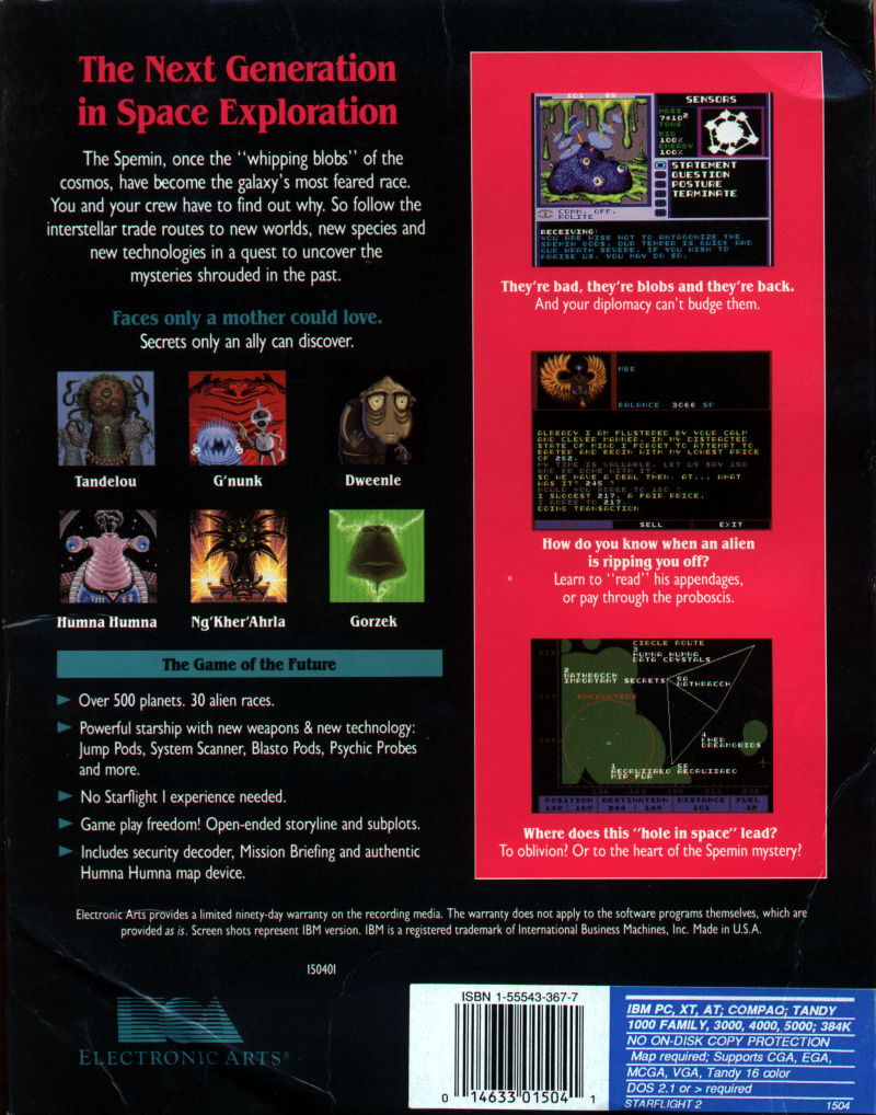 Starflight 2: Trade Routes of the Cloud Nebula DOS Back Cover