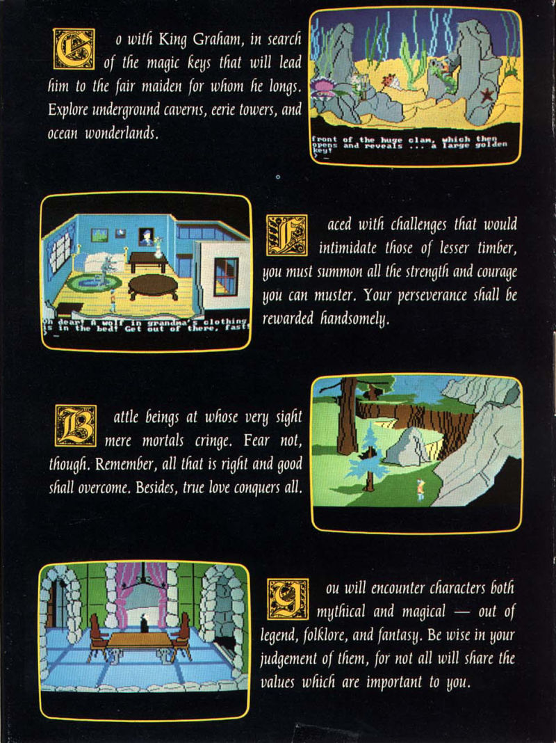King's Quest II: Romancing the Throne PC Booter Inside Cover