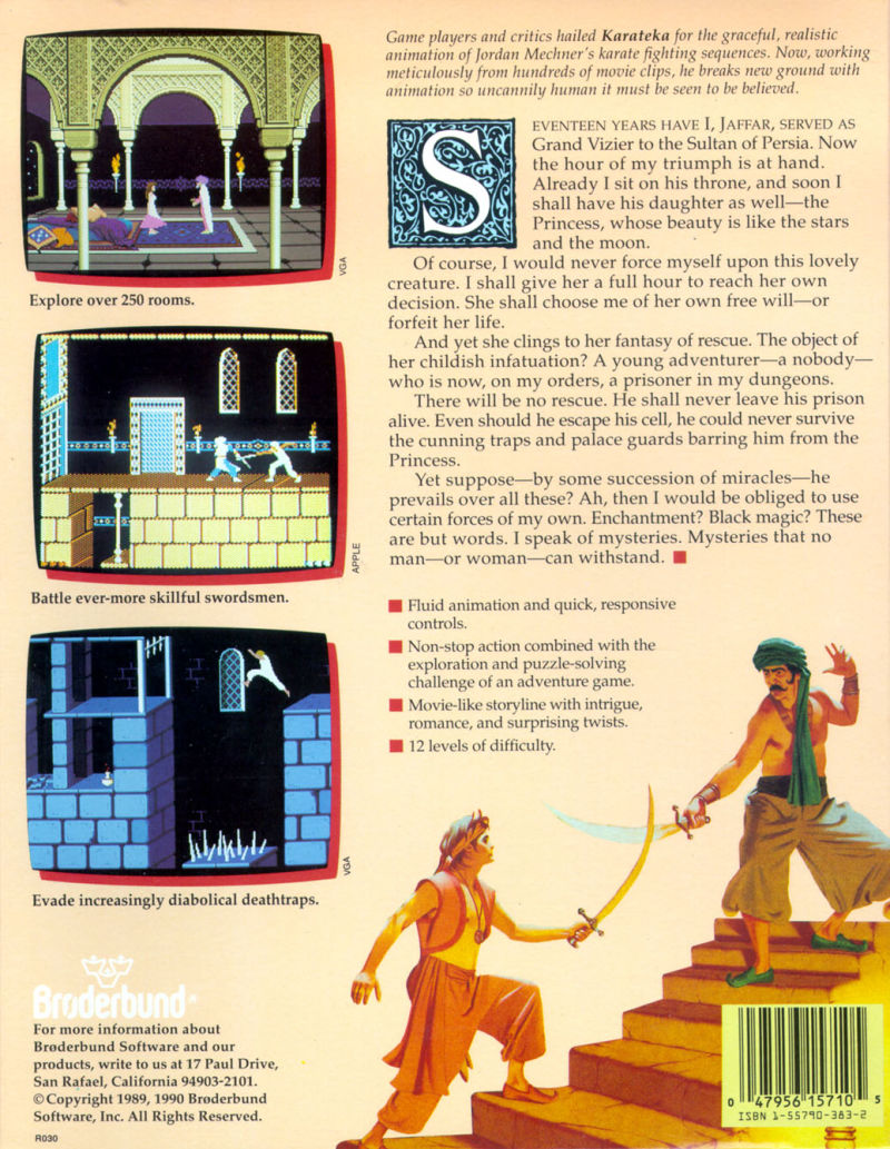 Prince of Persia 1 - United States - Back cover