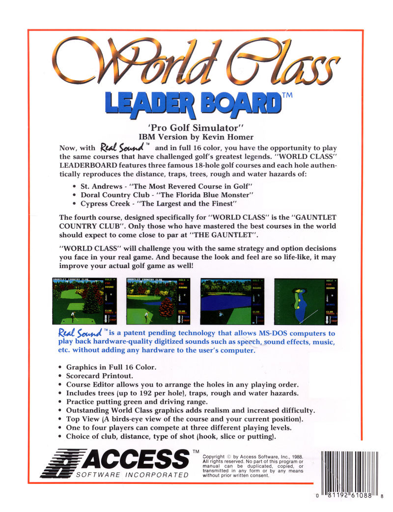 World Class Leader Board DOS Back Cover